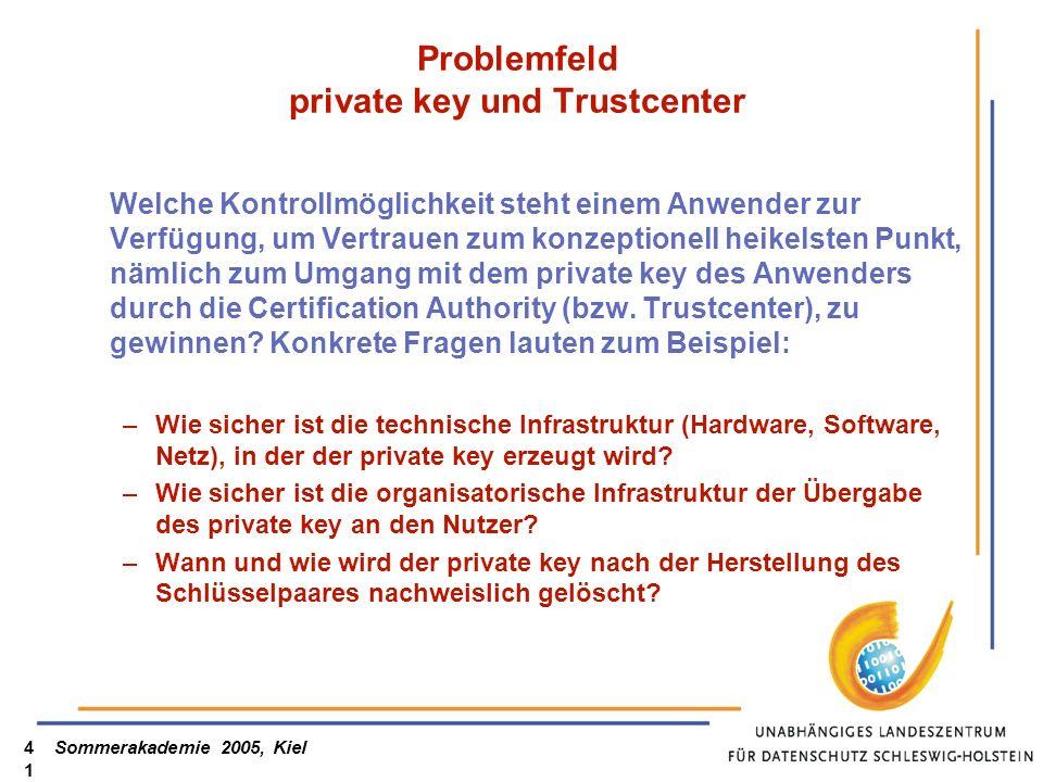 Sommerakademie 2005, Kiel41 Problemfeld private key und Trustcenter Welche Kontrollmöglichkeit steht einem Anwender zur Verfügung, um Vertrauen zum konzeptionell heikelsten Punkt, nämlich zum Umgang mit dem private key des Anwenders durch die Certification Authority (bzw.