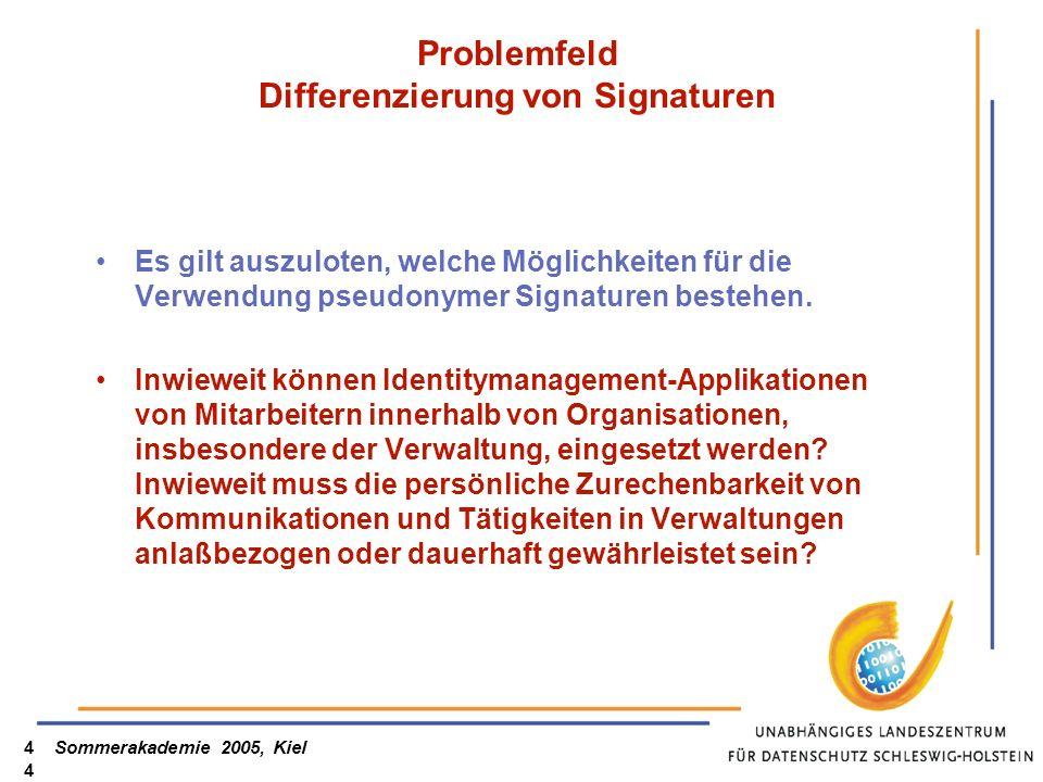 Sommerakademie 2005, Kiel44 Problemfeld Differenzierung von Signaturen Es gilt auszuloten, welche Möglichkeiten für die Verwendung pseudonymer Signatu