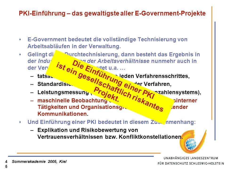 Sommerakademie 2005, Kiel45 PKI-Einführung – das gewaltigste aller E-Government-Projekte E-Government bedeutet die vollständige Technisierung von Arbe