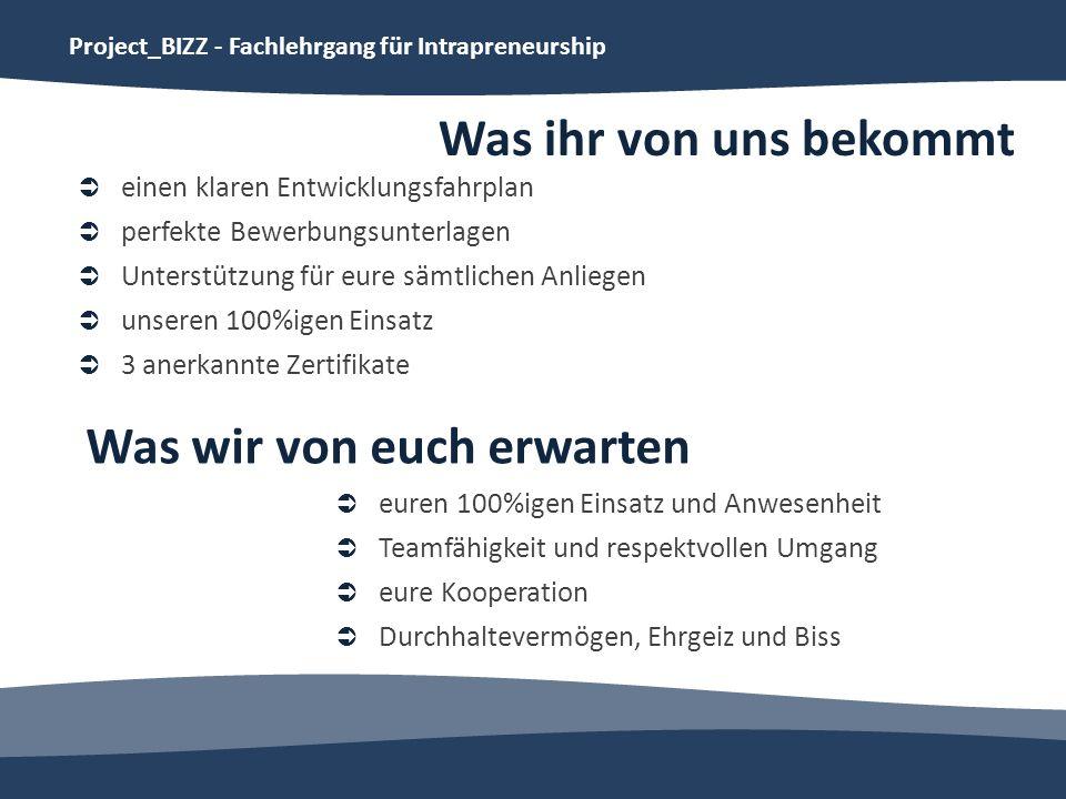 Project_BIZZ - Fachlehrgang für Intrapreneurship Was ihr von uns bekommt einen klaren Entwicklungsfahrplan perfekte Bewerbungsunterlagen Unterstützung