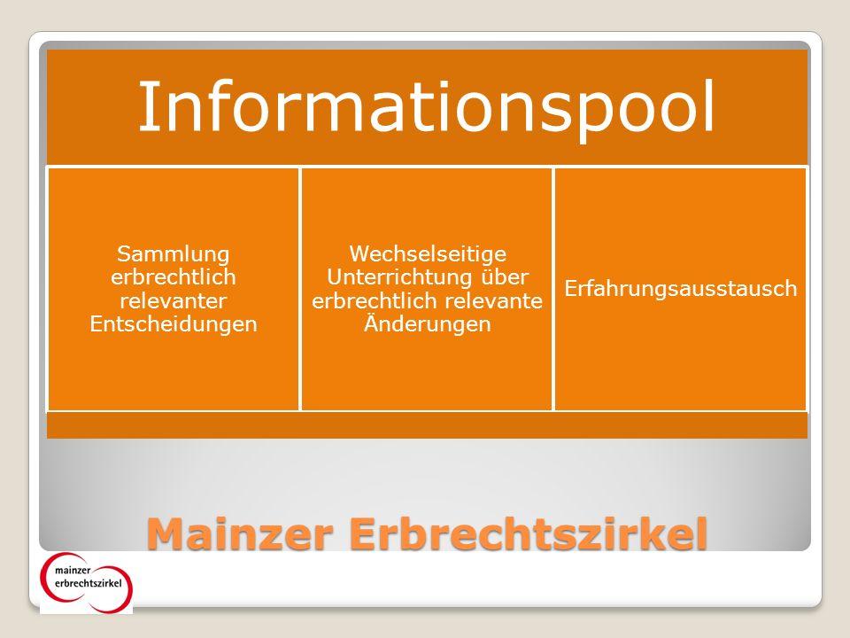 Mainzer Erbrechtszirkel Informationspool Sammlung erbrechtlich relevanter Entscheidungen Wechselseitige Unterrichtung über erbrechtlich relevante Änderungen Erfahrungsausstausch
