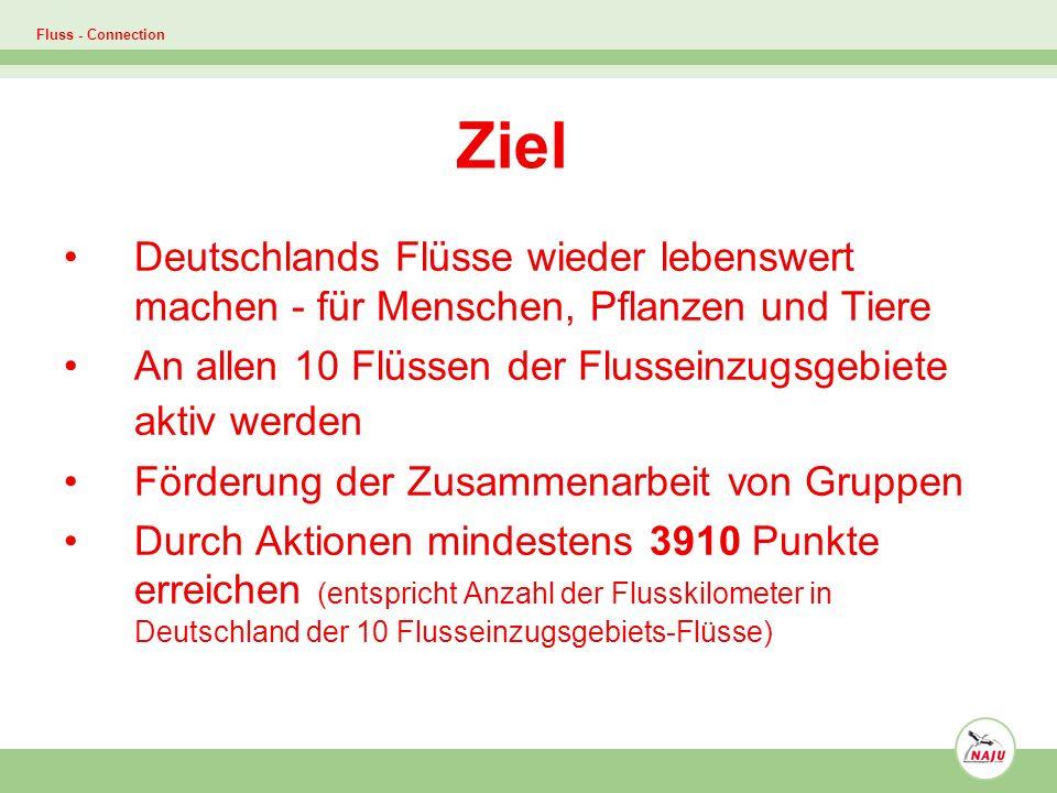 Fluss - Connection Ziel Deutschlands Flüsse wieder lebenswert machen - für Menschen, Pflanzen und Tiere An allen 10 Flüssen der Flusseinzugsgebiete aktiv werden Förderung der Zusammenarbeit von Gruppen Durch Aktionen mindestens 3910 Punkte erreichen (entspricht Anzahl der Flusskilometer in Deutschland der 10 Flusseinzugsgebiets-Flüsse)