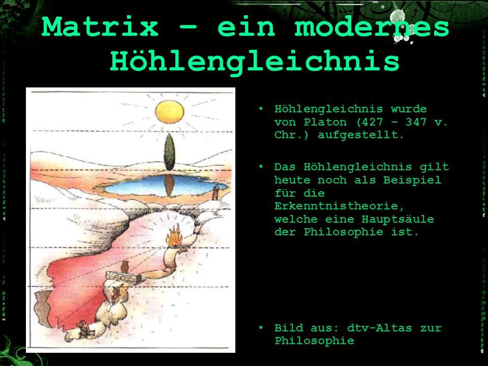 Matrix – ein modernes Höhlengleichnis Höhlengleichnis wurde von Platon (427 – 347 v. Chr.) aufgestellt. Das Höhlengleichnis gilt heute noch als Beispi