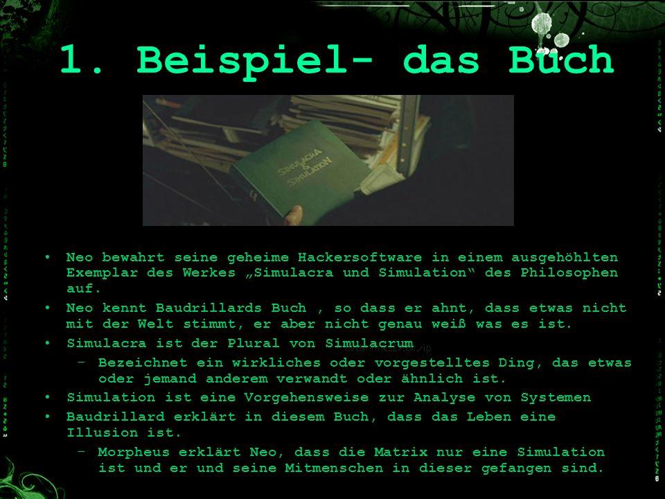1. Beispiel- das Buch Neo bewahrt seine geheime Hackersoftware in einem ausgehöhlten Exemplar des Werkes Simulacra und Simulation des Philosophen auf.