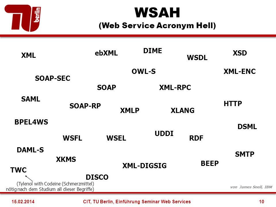 WSAH (Web Service Acronym Hell) XML SOAP WSDL UDDI WSFL HTTP BEEP XKMS SAML ebXML XML-RPC XMLP XML-DIGSIG XML-ENC SOAP-SEC SMTP BPEL4WS WSEL SOAP-RP D
