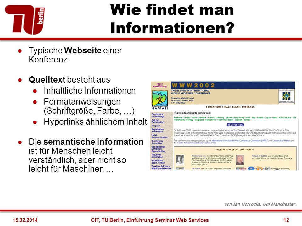 Wie findet man Informationen? von Ian Horrocks, Uni Manchester Typische Webseite einer Konferenz: Quelltext besteht aus Inhaltliche Informationen Form