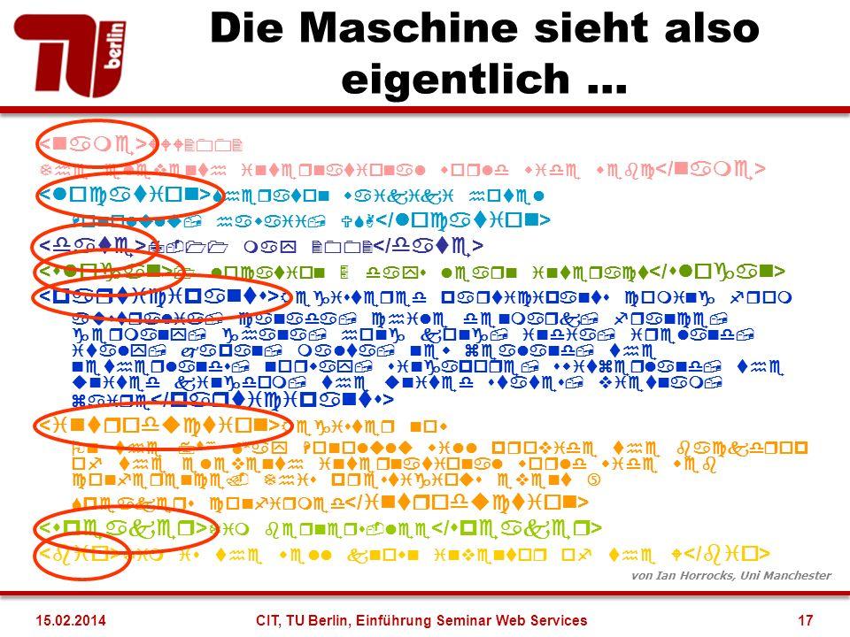 Die Maschine sieht also eigentlich... von Ian Horrocks, Uni Manchester 17CIT, TU Berlin, Einführung Seminar Web Services15.02.2014