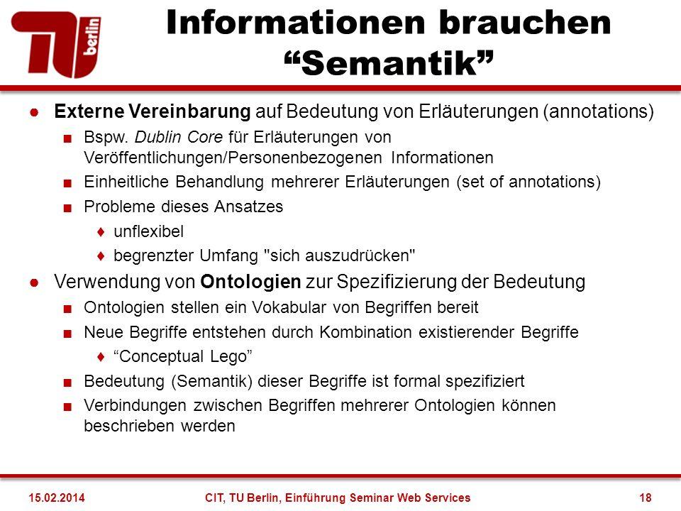 Informationen brauchen Semantik Externe Vereinbarung auf Bedeutung von Erläuterungen (annotations) Bspw. Dublin Core für Erläuterungen von Veröffentli