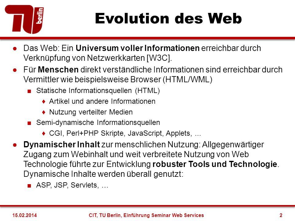 Evolution des Web Das Web: Ein Universum voller Informationen erreichbar durch Verknüpfung von Netzwerkkarten [W3C]. Für Menschen direkt verständliche