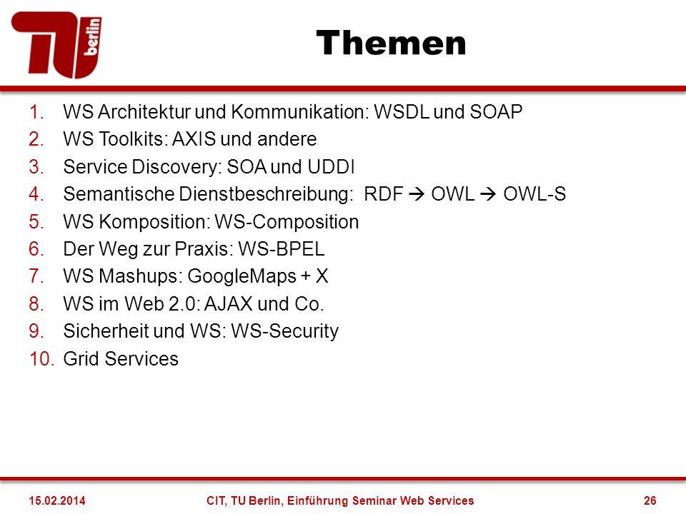 Themen 1.WS Architektur und Kommunikation: WSDL und SOAP 2.WS Toolkits: AXIS und andere 3.Service Discovery: SOA und UDDI 4.Semantische Dienstbeschrei