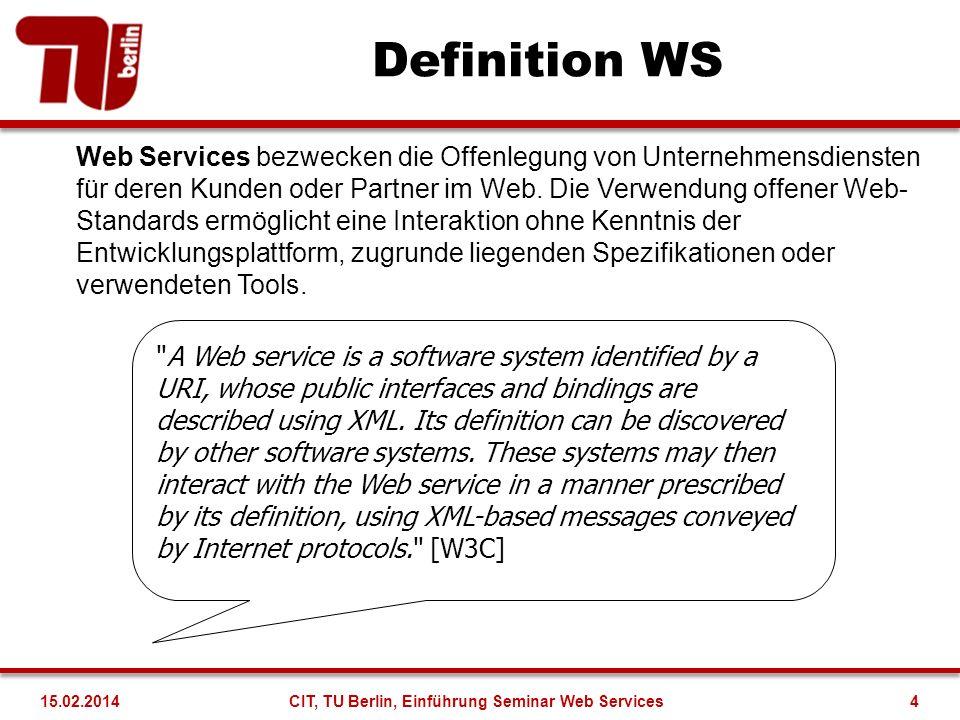 Vorteile von WS Erlauben lose Kopplung zwischen Systeme, die bereit sind zu Kommunizieren und zusammen zu arbeiten Überwinden Plattformabhängigkeiten zwischen den kommunizierenden Systemen Ermöglichen eine schnelle Entwicklung von Anwendungen Reduzieren Integrationskosten und verkürzen den Integrationsprozess allgemein Niedrige Einstiegsschwelle Bieten eine breitere Nutzung der Dienste, da keine plattformspezifischen Anforderungen an die Kunden gestellt werden Ermöglichen das Fortbestehen alter Systeme CIT, TU Berlin, Einführung Seminar Web Services515.02.2014