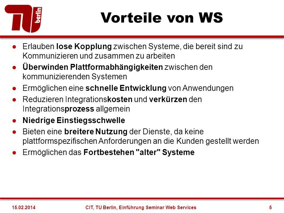 Vorteile von WS Erlauben lose Kopplung zwischen Systeme, die bereit sind zu Kommunizieren und zusammen zu arbeiten Überwinden Plattformabhängigkeiten