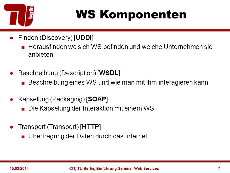 WSDL (Web Service Description Language) Beschreibungssprache zur Spezifikation von Web Services Analog zu CORBA IDL Automatische Ableitung von C# oder Java Proxies und anderen Kommunikationskomponenten z.B.