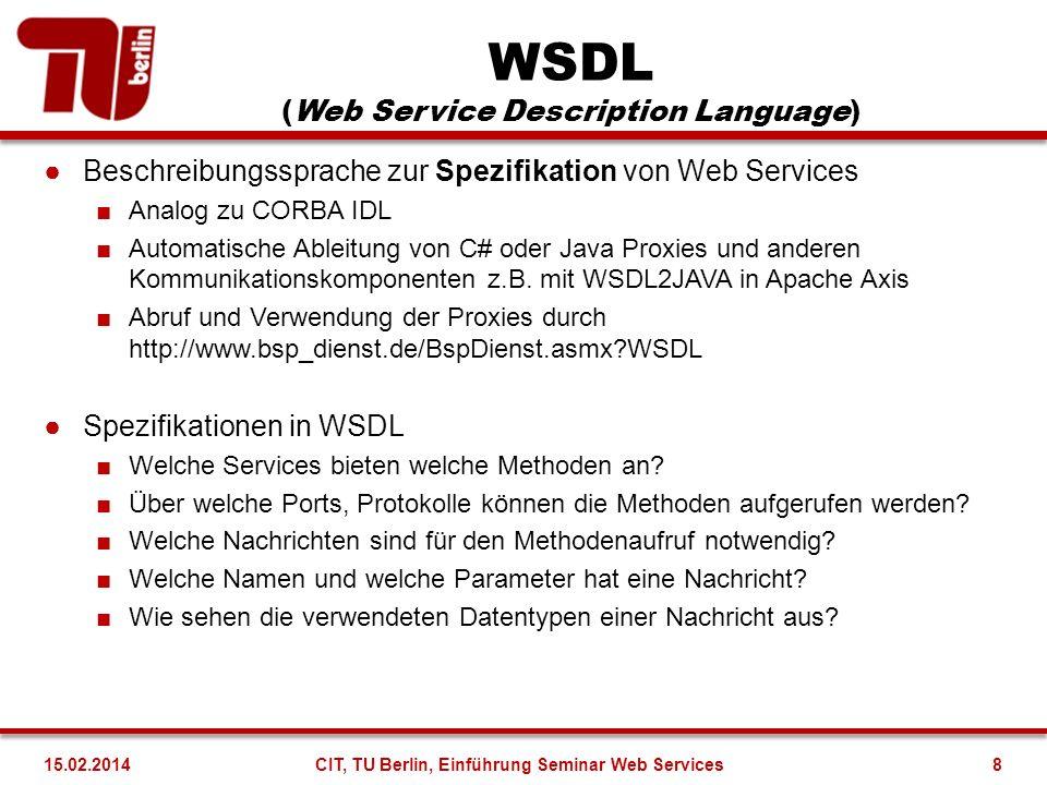 WSDL (Web Service Description Language) Beschreibungssprache zur Spezifikation von Web Services Analog zu CORBA IDL Automatische Ableitung von C# oder