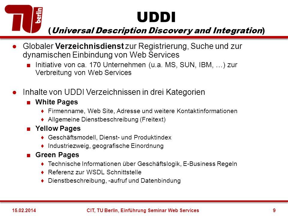 UDDI (Universal Description Discovery and Integration) Globaler Verzeichnisdienst zur Registrierung, Suche und zur dynamischen Einbindung von Web Serv