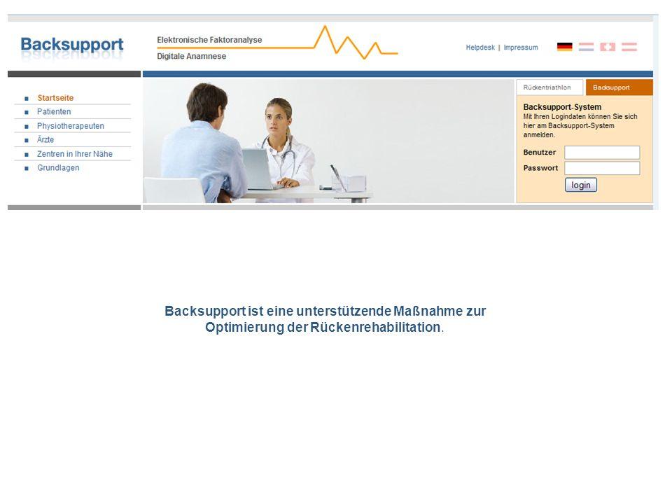 Backsupport ist eine unterstützende Maßnahme zur Optimierung der Rückenrehabilitation.