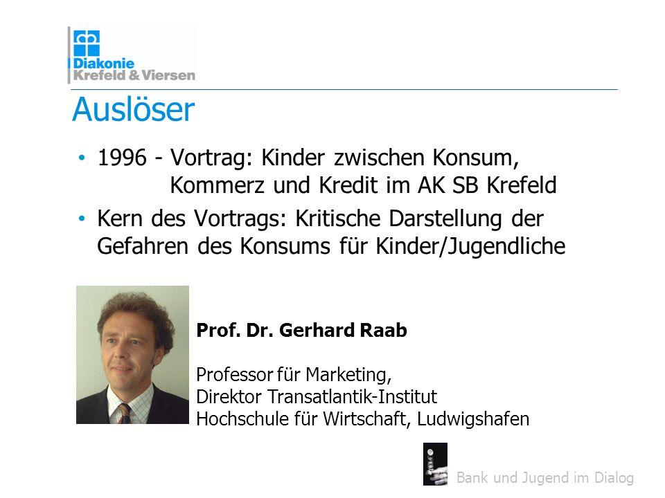 Bank und Jugend im Dialog Auslöser 1996 - Vortrag: Kinder zwischen Konsum, Kommerz und Kredit im AK SB Krefeld Kern des Vortrags: Kritische Darstellun