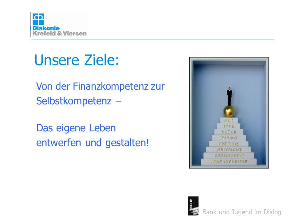 Bank und Jugend im Dialog Unsere Ziele: Von der Finanzkompetenz zur Selbstkompetenz – Das eigene Leben entwerfen und gestalten!