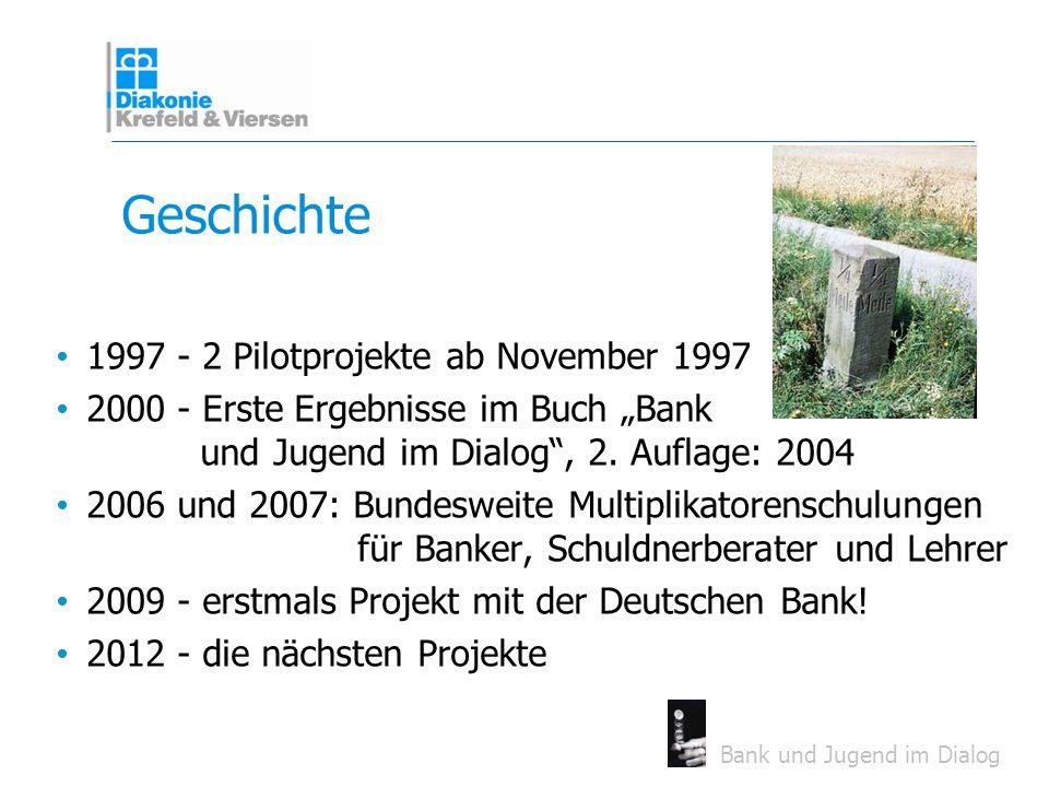 Bank und Jugend im Dialog Geschichte 1997 - 2 Pilotprojekte ab November 1997 2000 - Erste Ergebnisse im Buch Bank und Jugend im Dialog, 2. Auflage: 20
