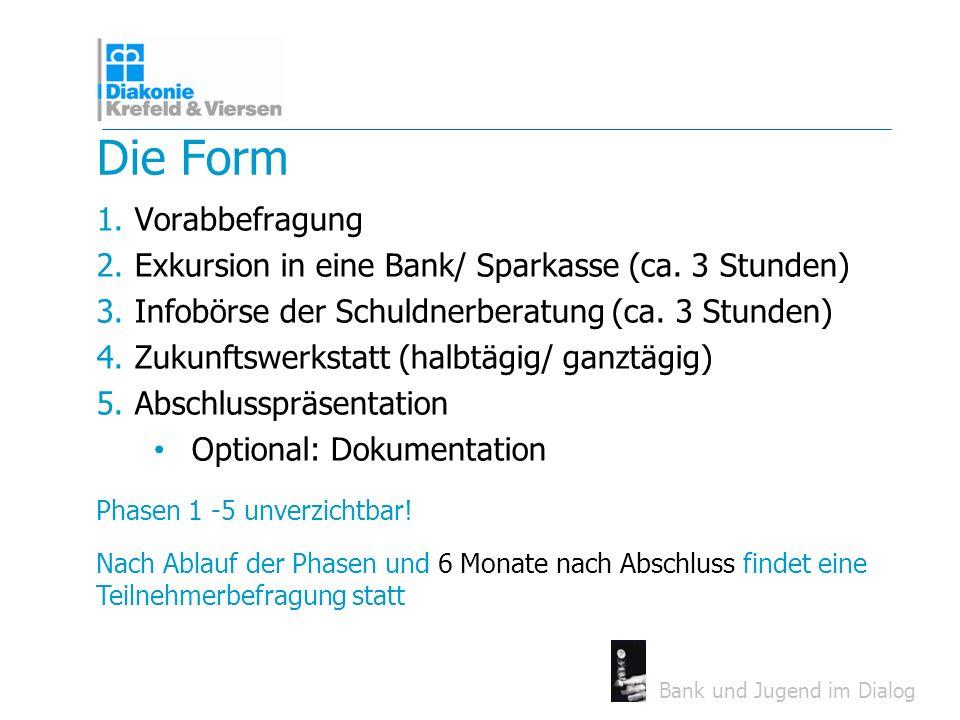 Bank und Jugend im Dialog Die Form 1.Vorabbefragung 2.Exkursion in eine Bank/ Sparkasse (ca. 3 Stunden) 3.Infobörse der Schuldnerberatung (ca. 3 Stund