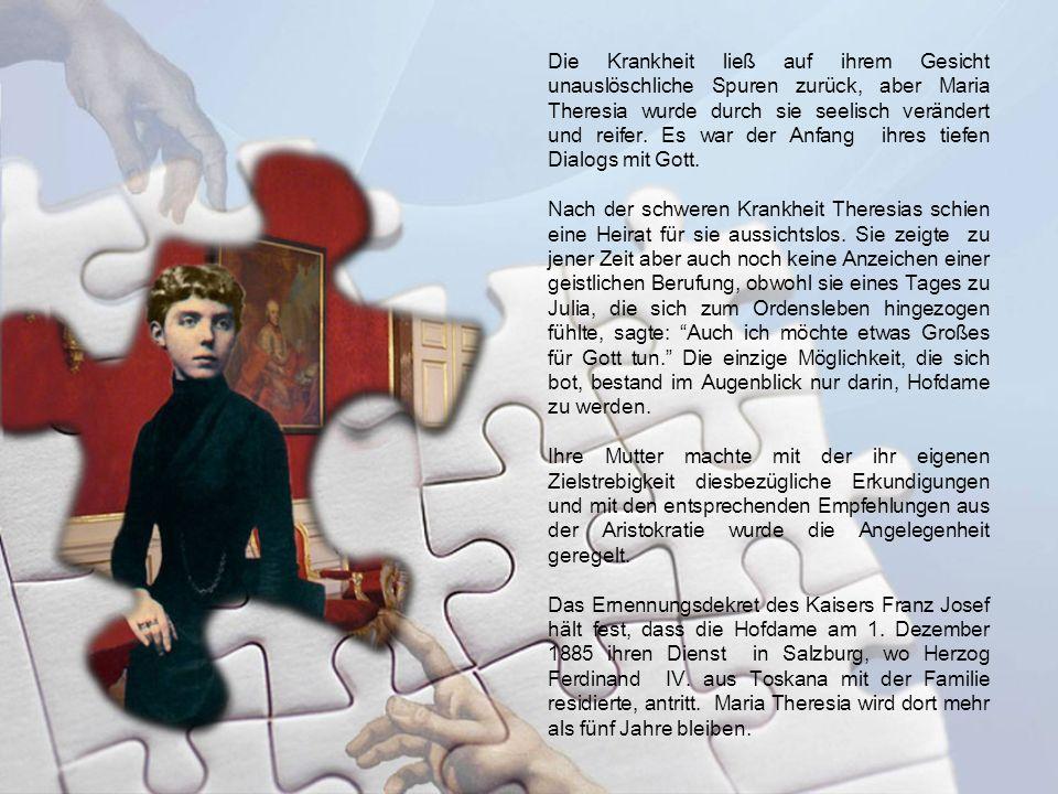 Die Krankheit ließ auf ihrem Gesicht unauslöschliche Spuren zurück, aber Maria Theresia wurde durch sie seelisch verändert und reifer. Es war der Anfa
