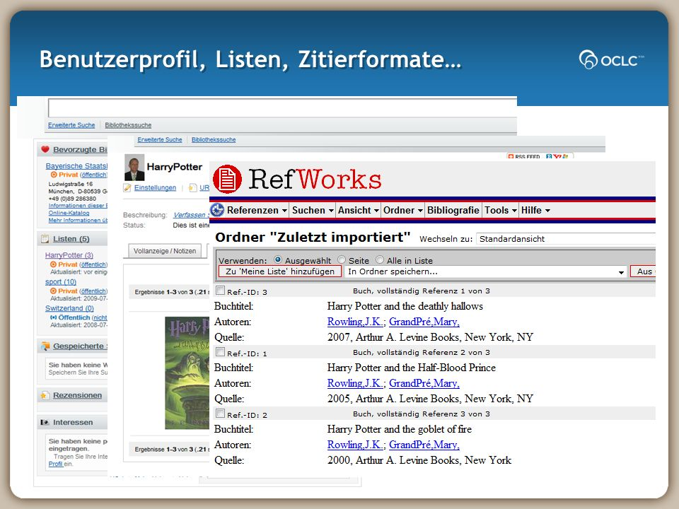 Benutzerprofil, Listen, Zitierformate…