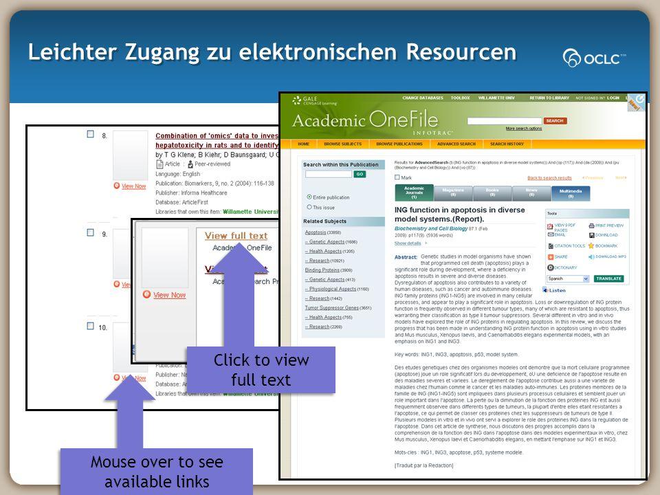 Leichter Zugang zu elektronischen Resourcen