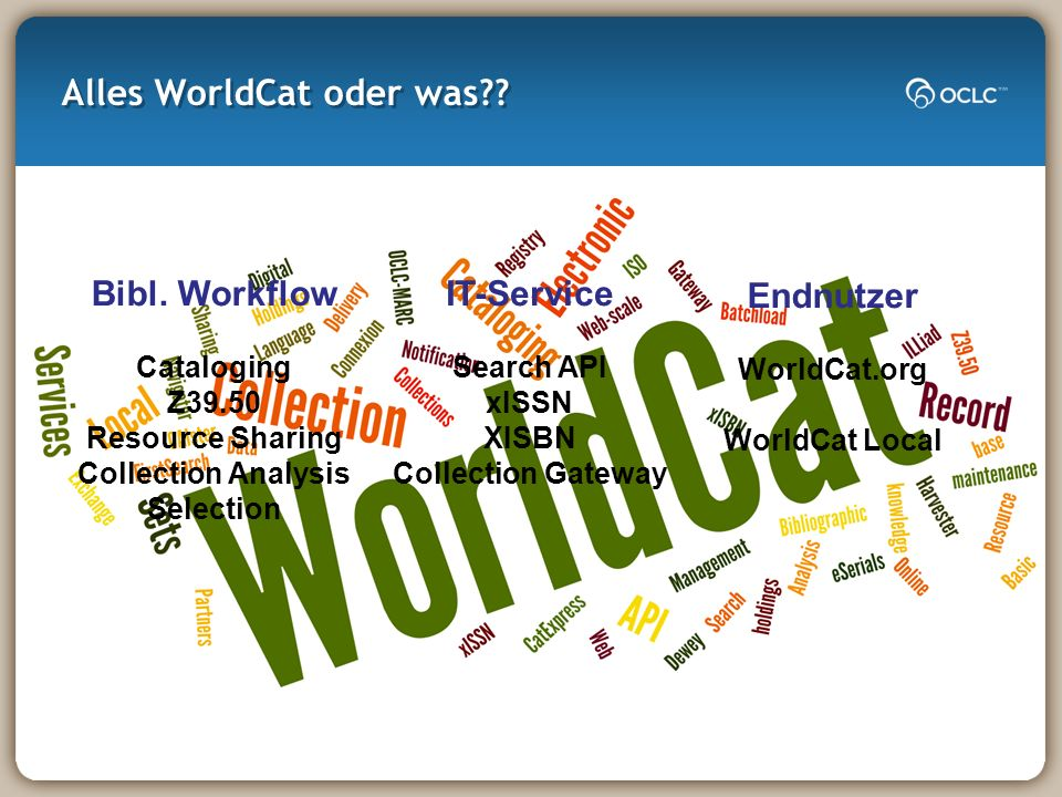 Alles WorldCat oder was?? Bibl. Workflow Cataloging Z39.50 Resource Sharing Collection Analysis Selection IT-Service Search API xISSN XISBN Collection