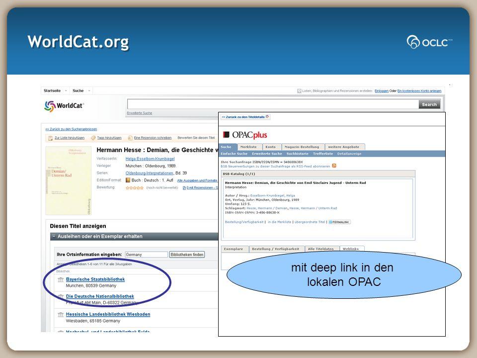 WorldCat.org mit deep link in den lokalen OPAC