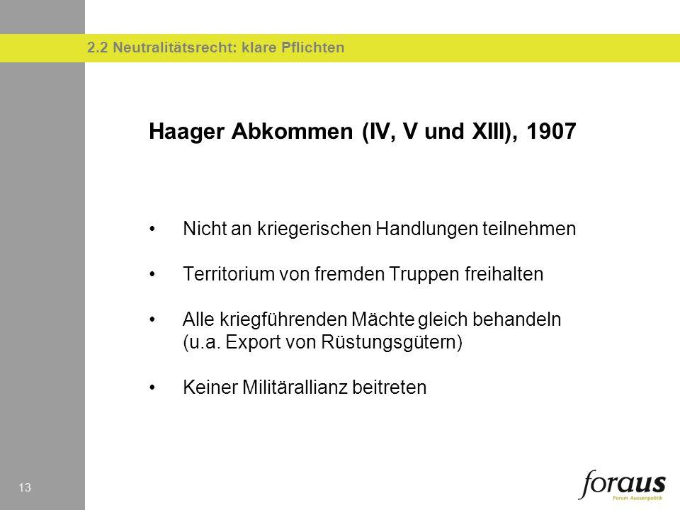 13 Haager Abkommen (IV, V und XIII), 1907 Nicht an kriegerischen Handlungen teilnehmen Territorium von fremden Truppen freihalten Alle kriegführenden Mächte gleich behandeln (u.a.