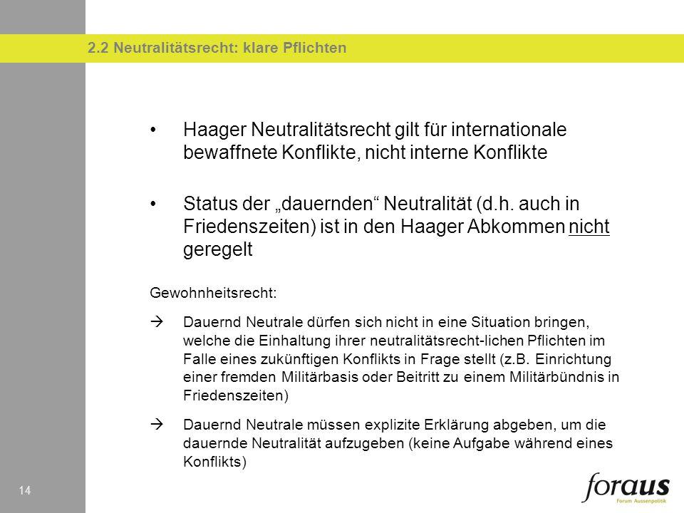 14 2.2 Neutralitätsrecht: klare Pflichten Haager Neutralitätsrecht gilt für internationale bewaffnete Konflikte, nicht interne Konflikte Status der dauernden Neutralität (d.h.