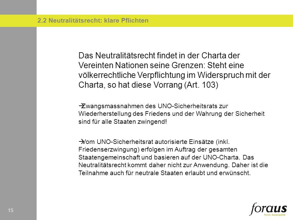 15 2.2 Neutralitätsrecht: klare Pflichten Das Neutralitätsrecht findet in der Charta der Vereinten Nationen seine Grenzen: Steht eine völkerrechtliche