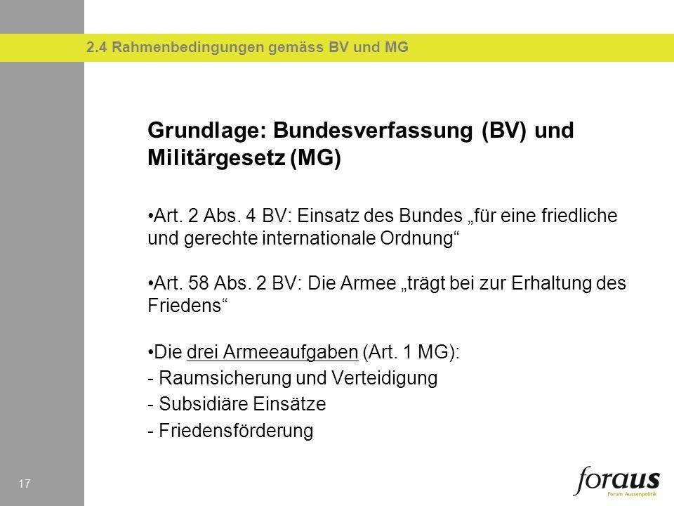 17 Grundlage: Bundesverfassung (BV) und Militärgesetz (MG) Art. 2 Abs. 4 BV: Einsatz des Bundes für eine friedliche und gerechte internationale Ordnun