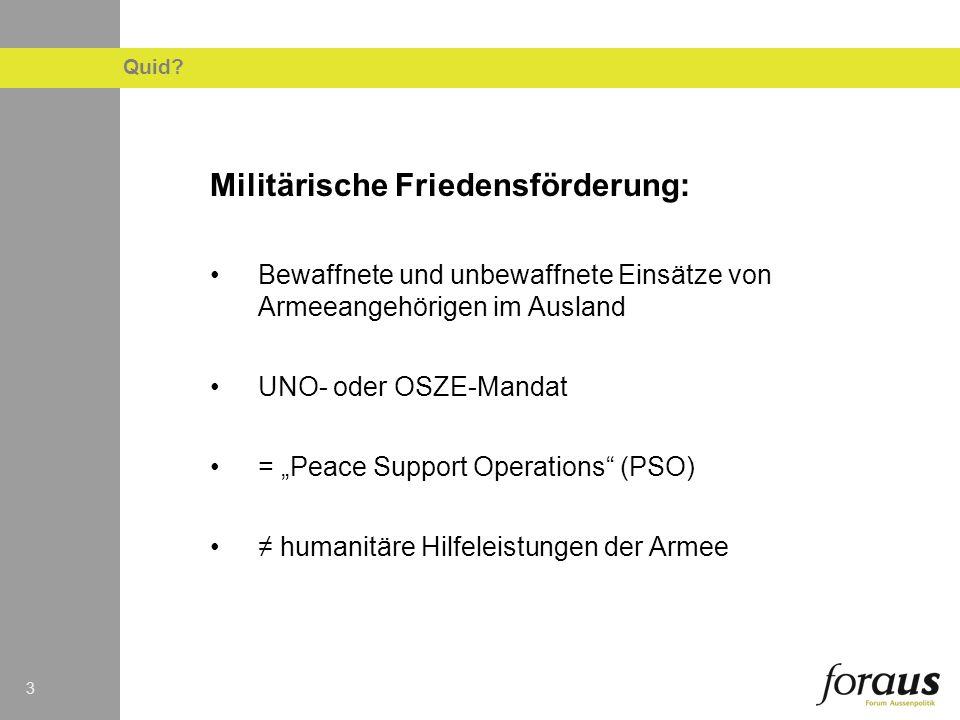 33 Militärische Friedensförderung: Bewaffnete und unbewaffnete Einsätze von Armeeangehörigen im Ausland UNO- oder OSZE-Mandat = Peace Support Operatio