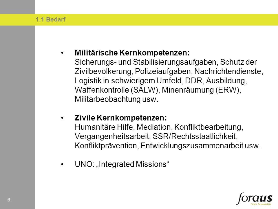 66 Militärische Kernkompetenzen: Sicherungs- und Stabilisierungsaufgaben, Schutz der Zivilbevölkerung, Polizeiaufgaben, Nachrichtendienste, Logistik in schwierigem Umfeld, DDR, Ausbildung, Waffenkontrolle (SALW), Minenräumung (ERW), Militärbeobachtung usw.