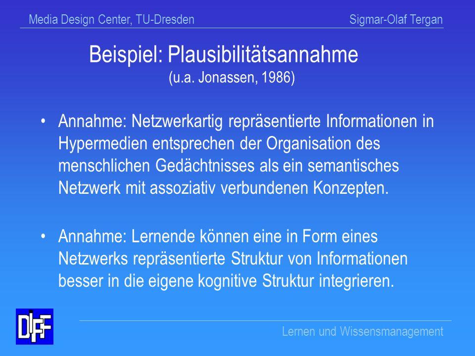 Media Design Center, TU-Dresden Sigmar-Olaf Tergan Lernen und Wissensmanagement Mängel in der theoretischen Begründung Unangemessene Gleichsetzung struktureller und funktionaler Merkmale von Hypermedien mit strukturellen und funktionalen Merkmalen des menschlichen Gedächtnisses Unangemessene Berücksichtigung von Ergebnissen kognitiver Forschung zum Wissenserwerb