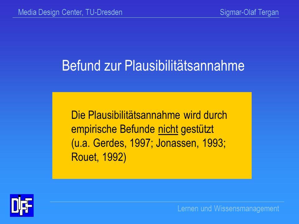 Media Design Center, TU-Dresden Sigmar-Olaf Tergan Lernen und Wissensmanagement Beispiel: Plausibilitätsannahme (u.a.