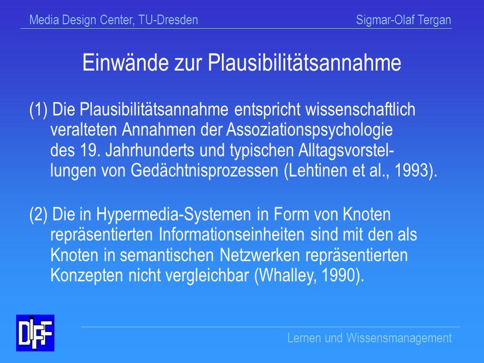 Media Design Center, TU-Dresden Sigmar-Olaf Tergan Lernen und Wissensmanagement Befund zur Plausibilitätsannahme Die Plausibilitätsannahme wird durch empirische Befunde nicht gestützt (u.a.
