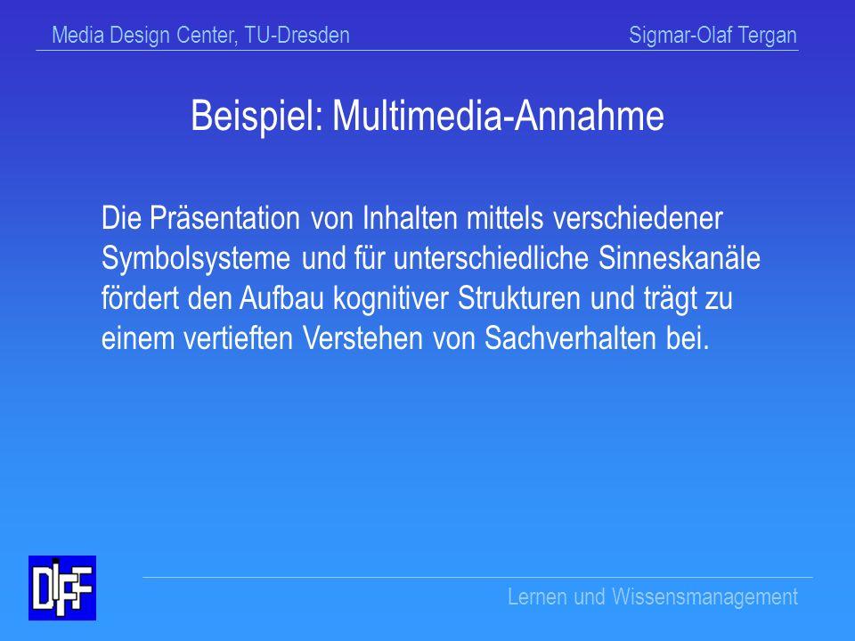 Media Design Center, TU-Dresden Sigmar-Olaf Tergan Lernen und Wissensmanagement Einwände zur Plausibilitätsannahme (1) Die Plausibilitätsannahme entspricht wissenschaftlich veralteten Annahmen der Assoziationspsychologie des 19.