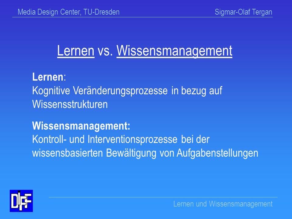 Media Design Center, TU-Dresden Sigmar-Olaf Tergan Lernen und Wissensmanagement Wissensmanagement (WM) Intelligenter und verantwortungsbewußter Umgang mit Information und Wissen unter Nutzung der neuen Informationstechnologien (Mandl & Reinmann-Rothmeier, 2000, S.