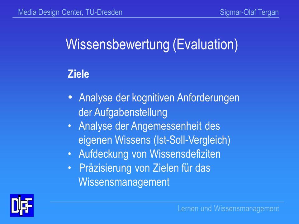 Media Design Center, TU-Dresden Sigmar-Olaf Tergan Lernen und Wissensmanagement Wissensbewertung / Evaluation