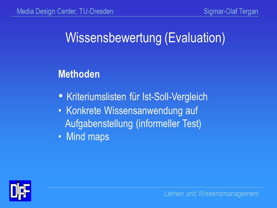 Media Design Center, TU-Dresden Sigmar-Olaf Tergan Lernen und Wissensmanagement Wissensbewertung (Evaluation) Analyse der kognitiven Anforderungen der Aufgabenstellung Analyse der Angemessenheit des eigenen Wissens (Ist-Soll-Vergleich) Aufdeckung von Wissensdefiziten Präzisierung von Zielen für das Wissensmanagement Ziele