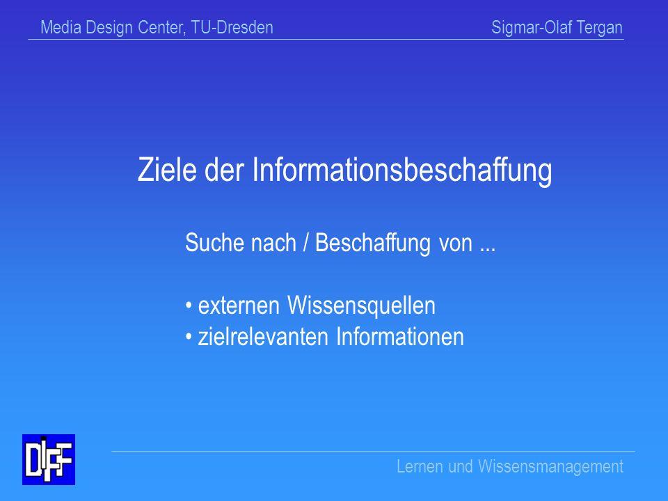 Media Design Center, TU-Dresden Sigmar-Olaf Tergan Lernen und Wissensmanagement Informationsbeschaffung
