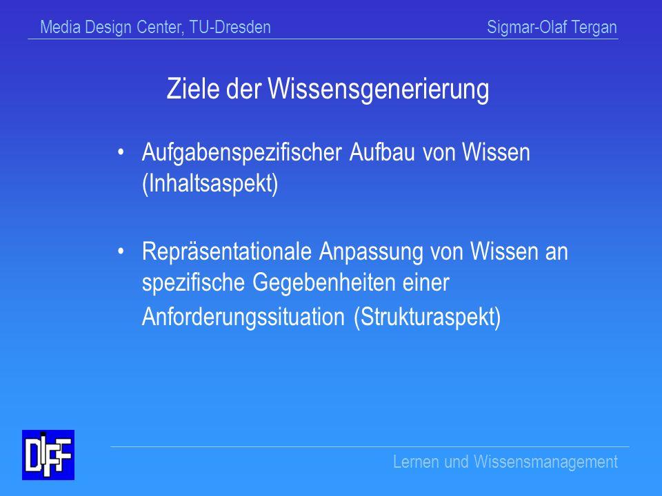 Media Design Center, TU-Dresden Sigmar-Olaf Tergan Lernen und Wissensmanagement Wissensgenerierung