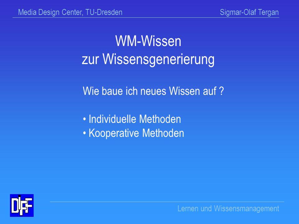 Media Design Center, TU-Dresden Sigmar-Olaf Tergan Lernen und Wissensmanagement Aufgabenspezifischer Aufbau von Wissen (Inhaltsaspekt) Repräsentationale Anpassung von Wissen an spezifische Gegebenheiten einer Anforderungssituation (Strukturaspekt) Ziele der Wissensgenerierung