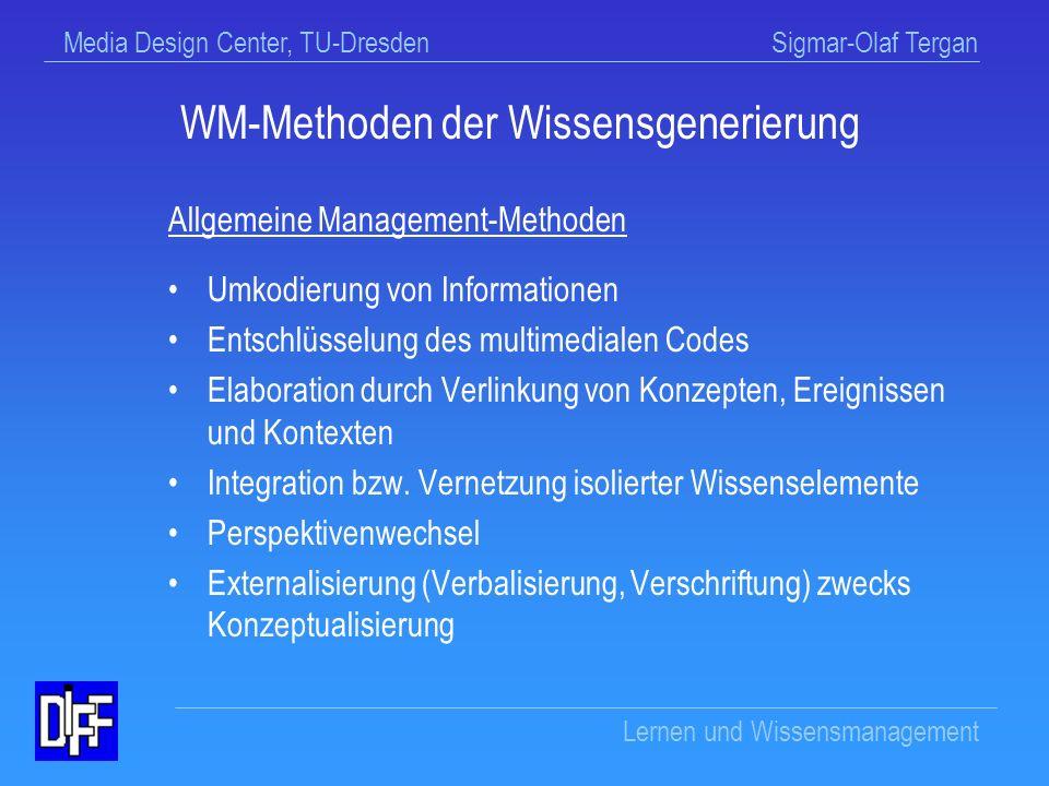 Media Design Center, TU-Dresden Sigmar-Olaf Tergan Lernen und Wissensmanagement WM-Wissen zur Wissensgenerierung Wie baue ich neues Wissen auf .