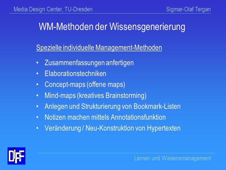Media Design Center, TU-Dresden Sigmar-Olaf Tergan Lernen und Wissensmanagement Umkodierung von Informationen Entschlüsselung des multimedialen Codes Elaboration durch Verlinkung von Konzepten, Ereignissen und Kontexten Integration bzw.