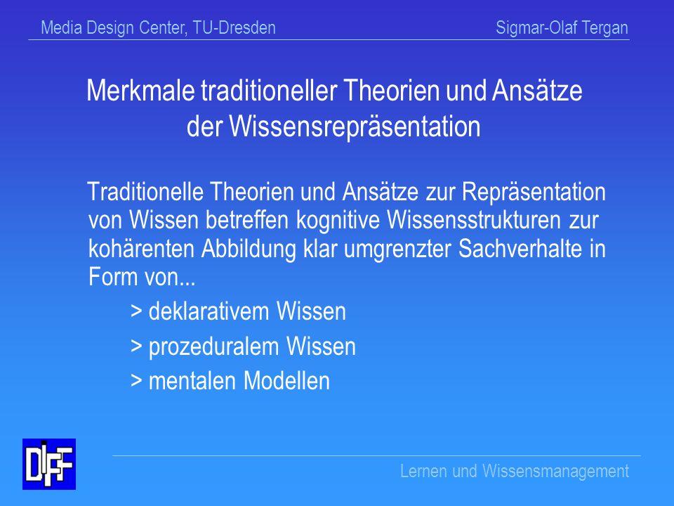 Media Design Center, TU-Dresden Sigmar-Olaf Tergan Lernen und Wissensmanagement Wissensrepräsentation
