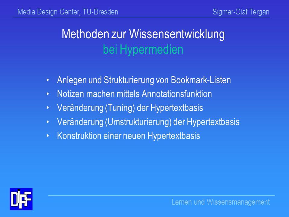 Media Design Center, TU-Dresden Sigmar-Olaf Tergan Lernen und Wissensmanagement WM-Wissen zur Wissensentwicklung Wie kann ich aus bestehendem Wissen Ideen und neues Wissen entwickeln .