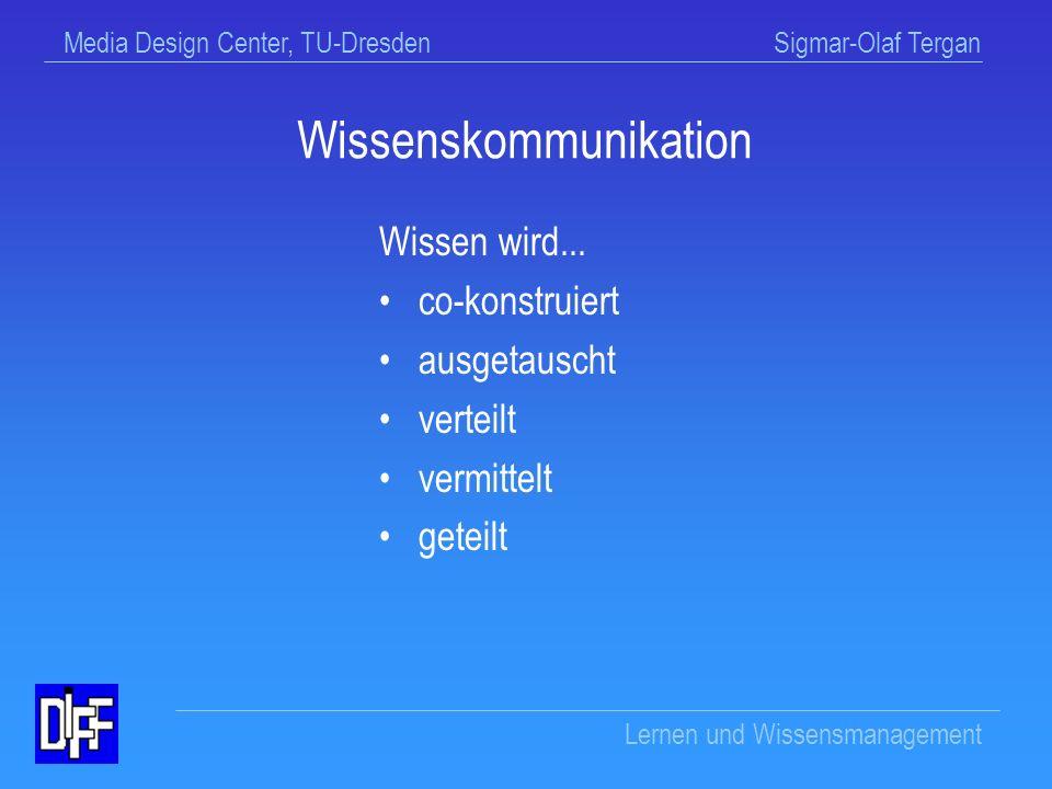 Media Design Center, TU-Dresden Sigmar-Olaf Tergan Lernen und Wissensmanagement Wissenskommunikation